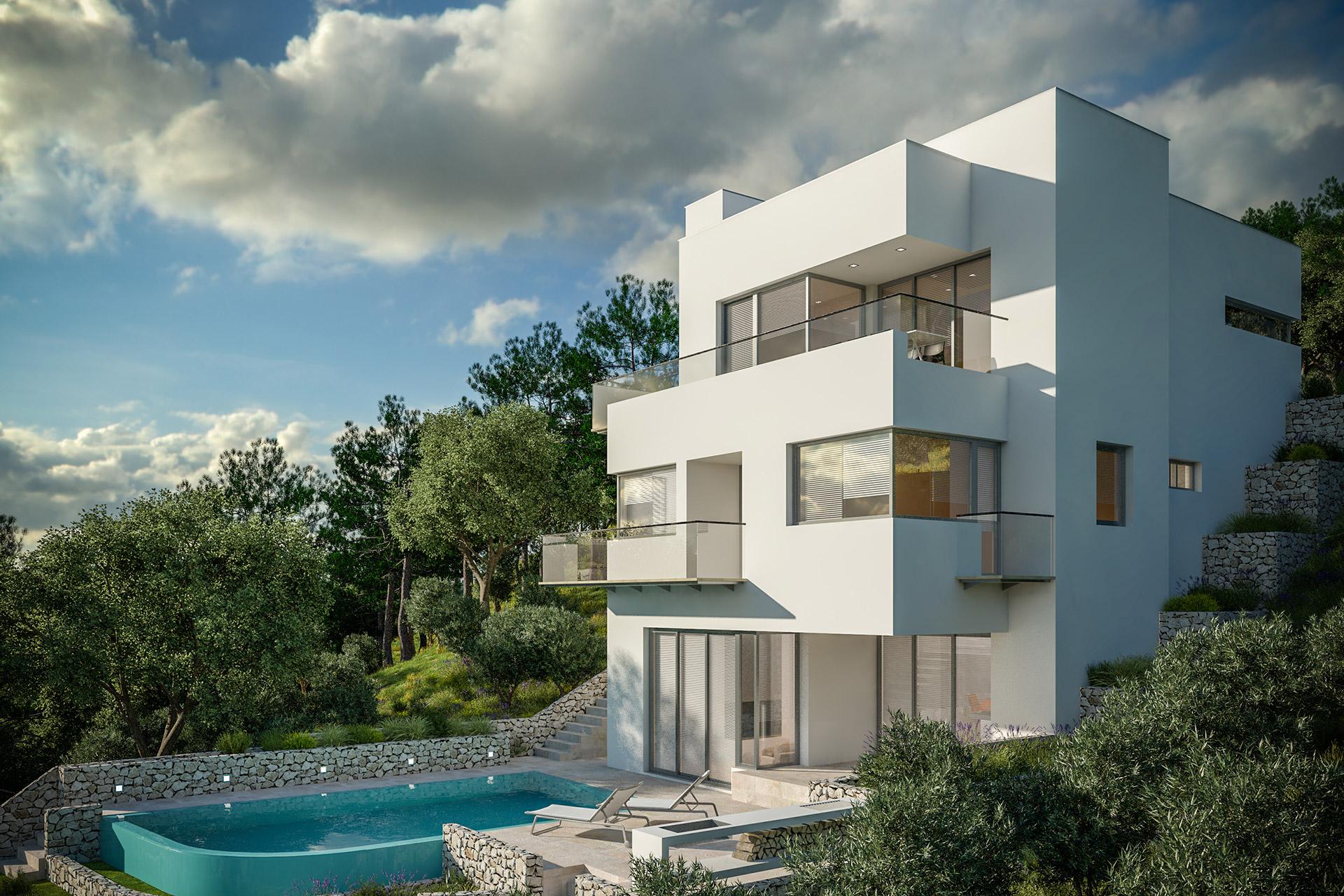 moderne villa am meer 1 reihe dream homes croatia. Black Bedroom Furniture Sets. Home Design Ideas